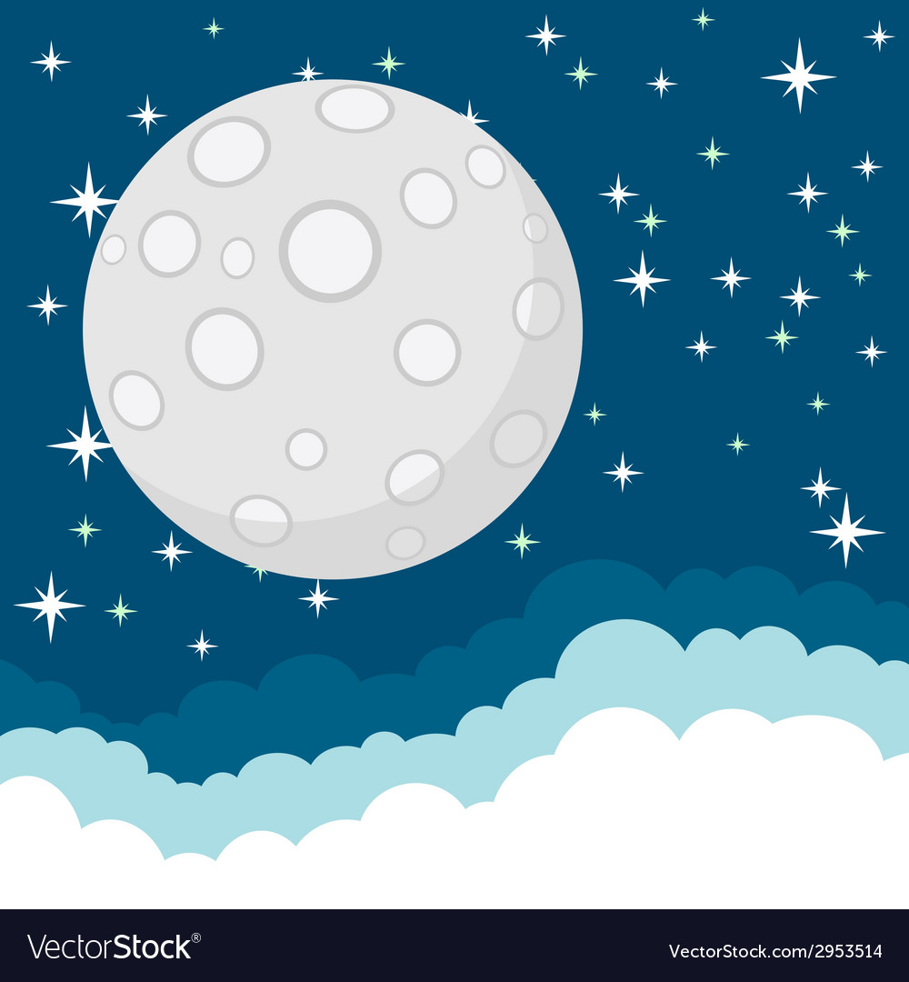 Full moon in the starry cosmic dark blue sky with vector | Price: 1 Credit (USD $1)
