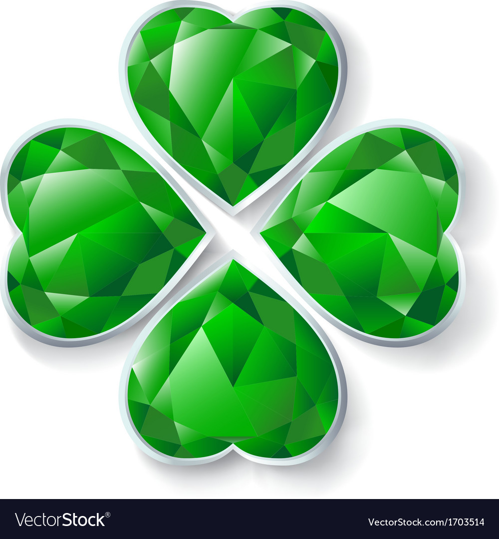 Green diamond four leaves clover vector | Price: 1 Credit (USD $1)