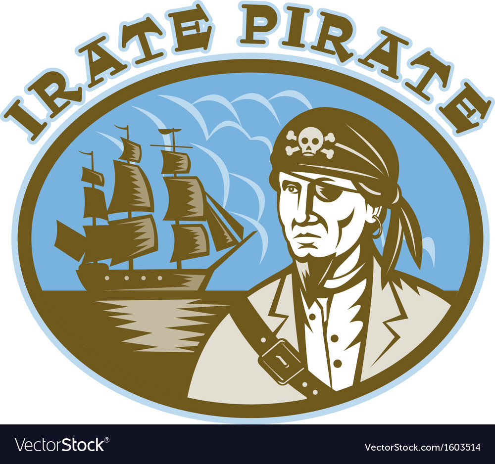 Irate pirate with sailing tall ship vector | Price: 1 Credit (USD $1)