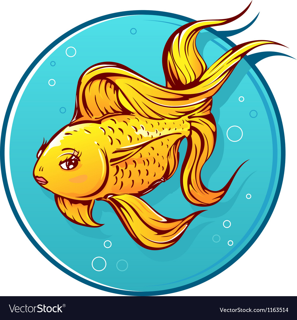 Lovely goldfish cartoon vector | Price: 1 Credit (USD $1)