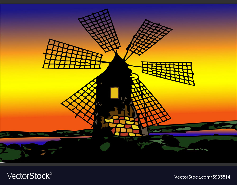 Old mill dutch at sunset vector | Price: 1 Credit (USD $1)