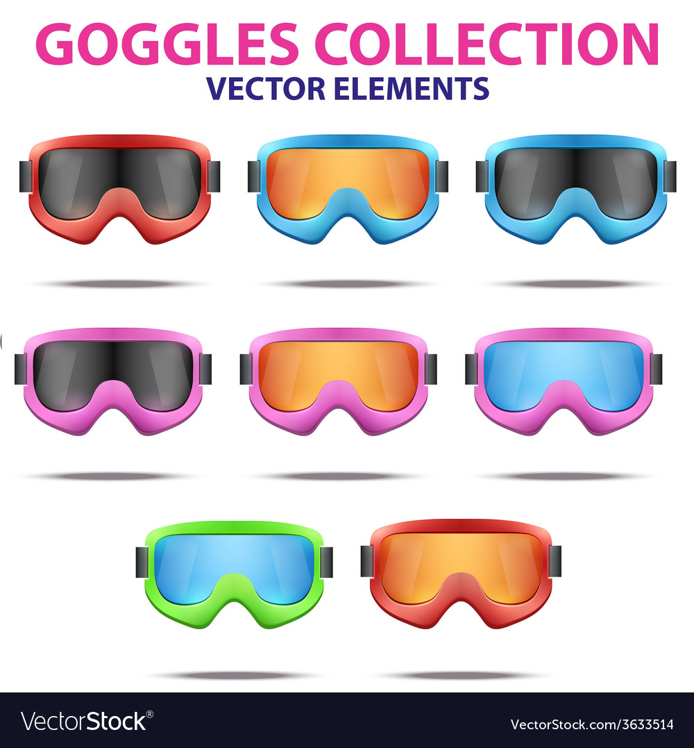 Set of classic snowboard ski goggles with colorful vector | Price: 1 Credit (USD $1)