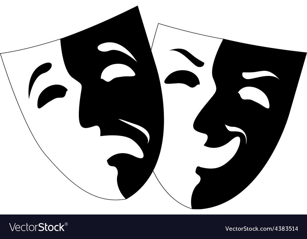 Theatre black and white emotion masks vector | Price: 1 Credit (USD $1)