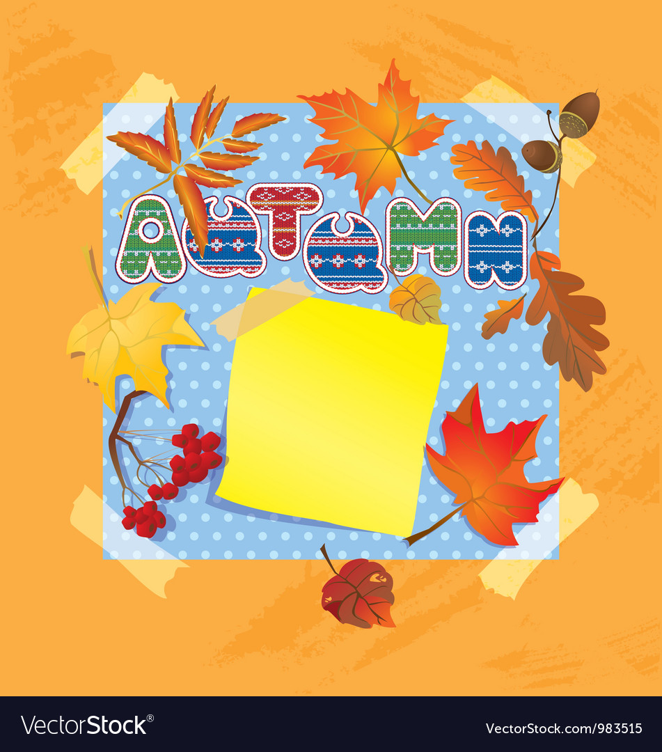 Background with autumn forest leafs and word autum vector | Price: 1 Credit (USD $1)