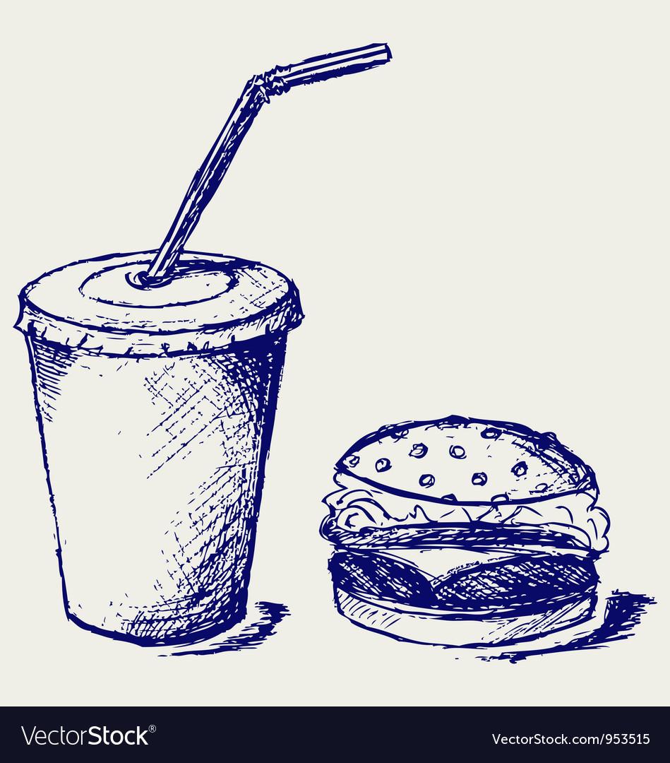 Big hamburger and soda vector | Price: 1 Credit (USD $1)