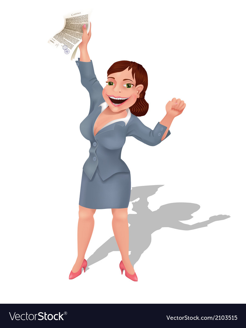 Businesswoman rejoices at profitable contract vector | Price: 1 Credit (USD $1)