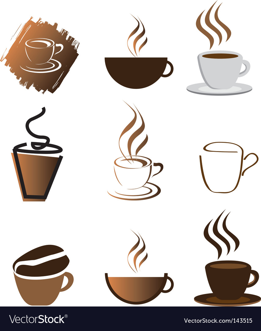 Coffee icons silhouette brown vector | Price: 1 Credit (USD $1)