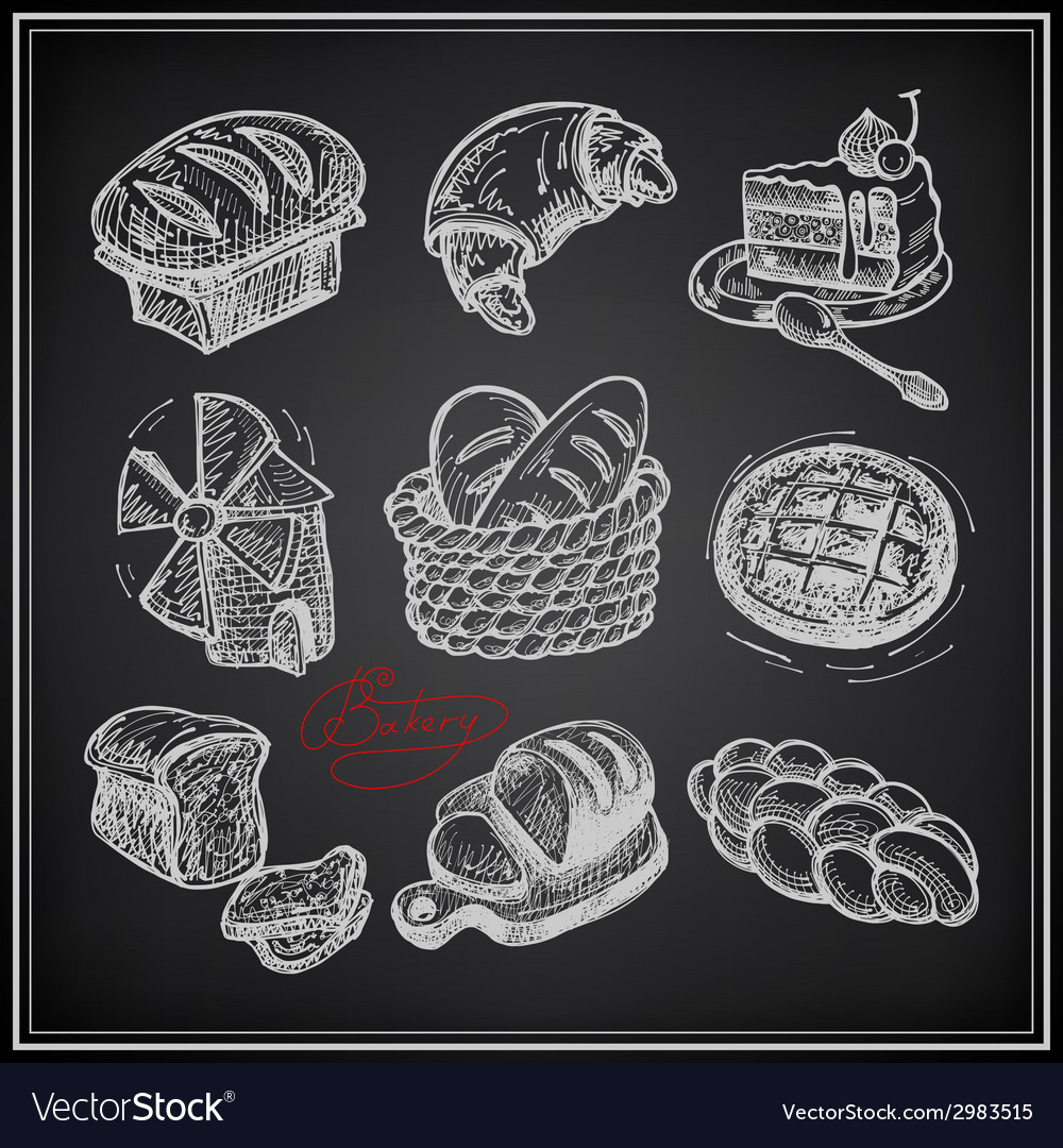 Digital drawing bakery icon set on black vector | Price: 1 Credit (USD $1)
