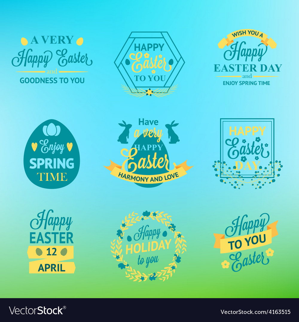 Easter labels and badges on blur background vector   Price: 1 Credit (USD $1)