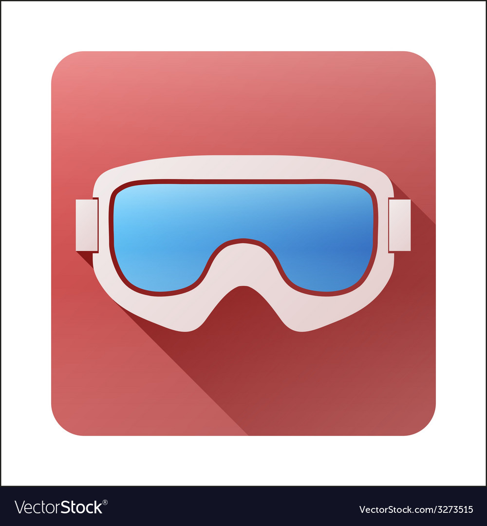 Flat icon with classic snowboard ski goggles vector | Price: 1 Credit (USD $1)
