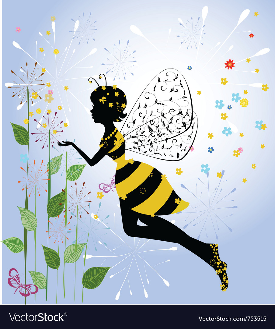 Flower girl fairy bee vector | Price: 1 Credit (USD $1)