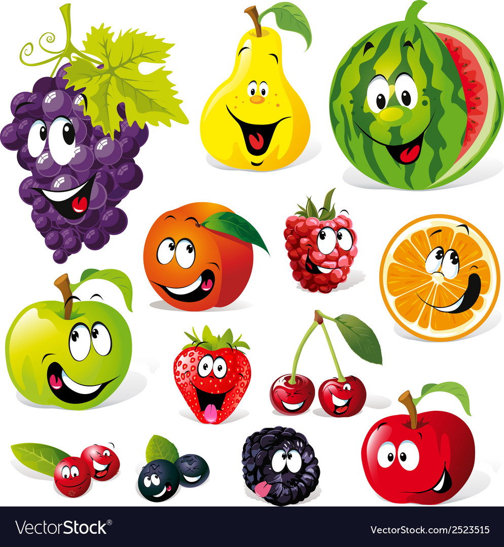 Funny fruit cartoon vector | Price: 1 Credit (USD $1)