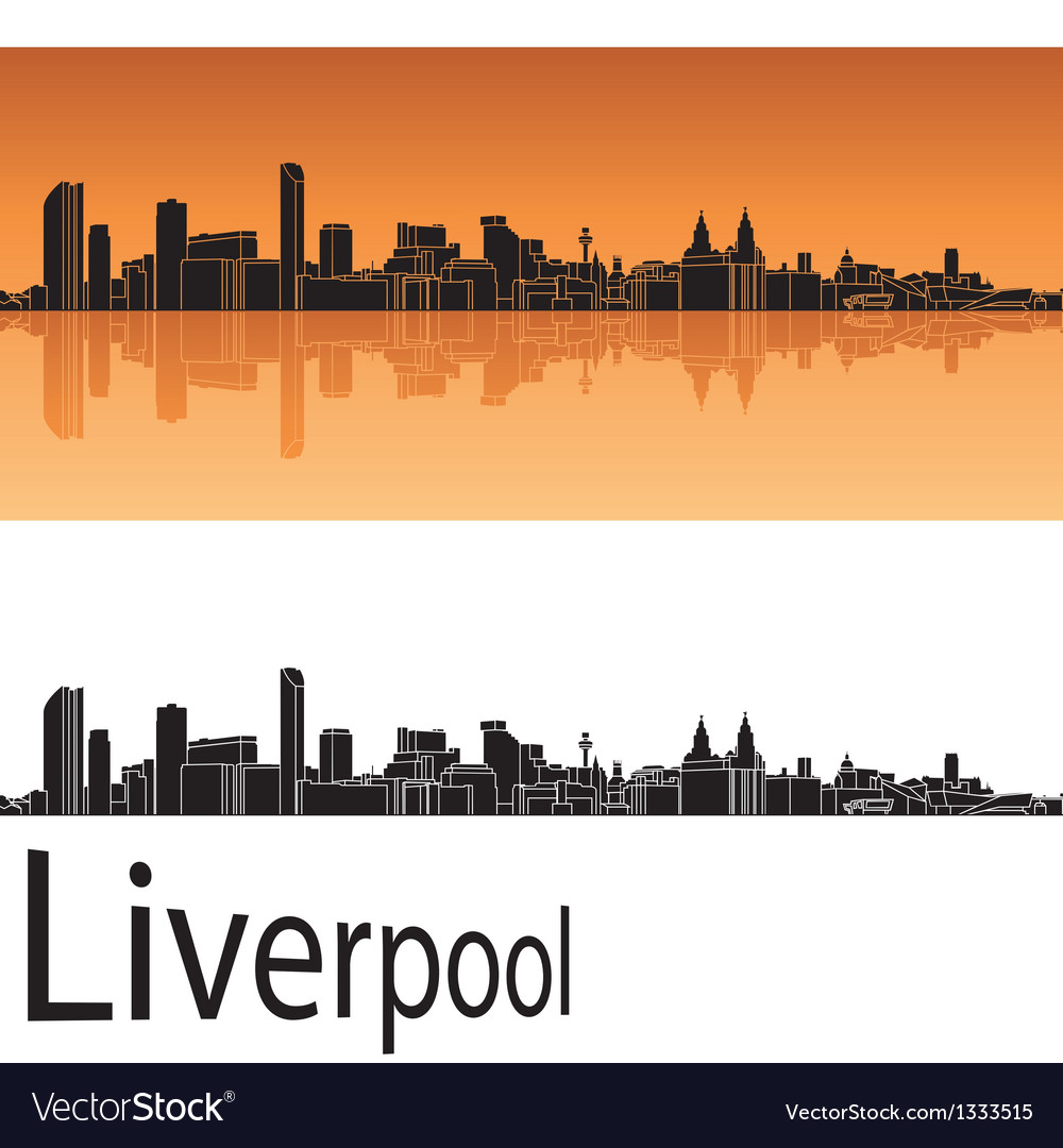 Liverpool skyline in orange background vector | Price: 1 Credit (USD $1)
