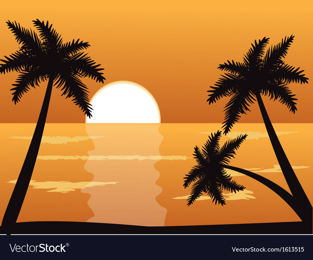 Seascape at sunset with palm trees vector | Price: 1 Credit (USD $1)