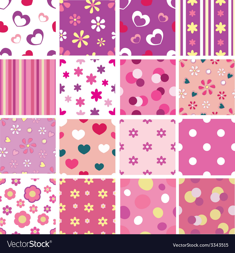 Set of kid seamless patterns vector | Price: 1 Credit (USD $1)