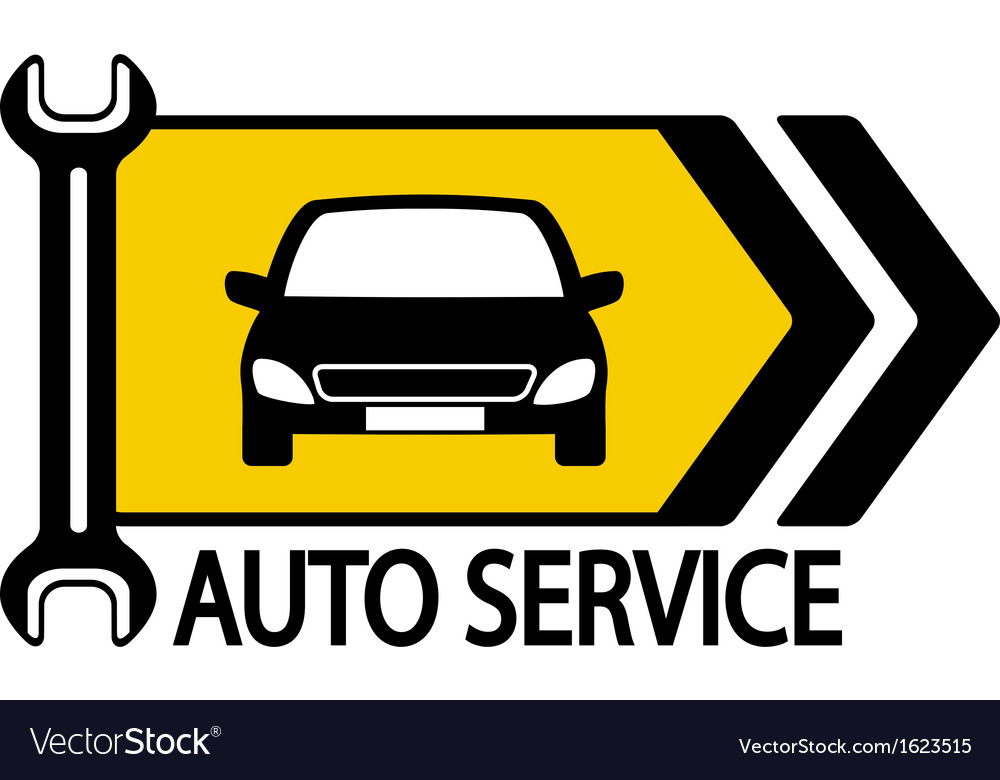 Sign with car wrench and arrow vector | Price: 1 Credit (USD $1)
