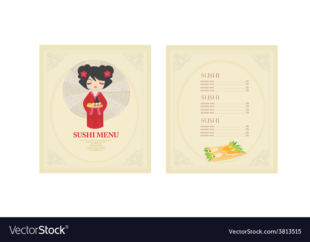 Template of traditional japanese food menu set vector | Price: 1 Credit (USD $1)