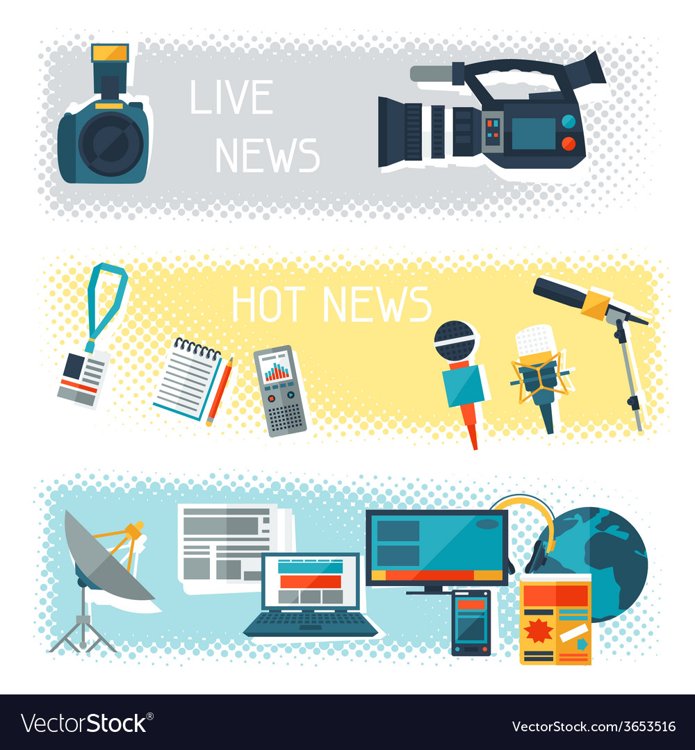 Banners with journalism icons vector | Price: 1 Credit (USD $1)