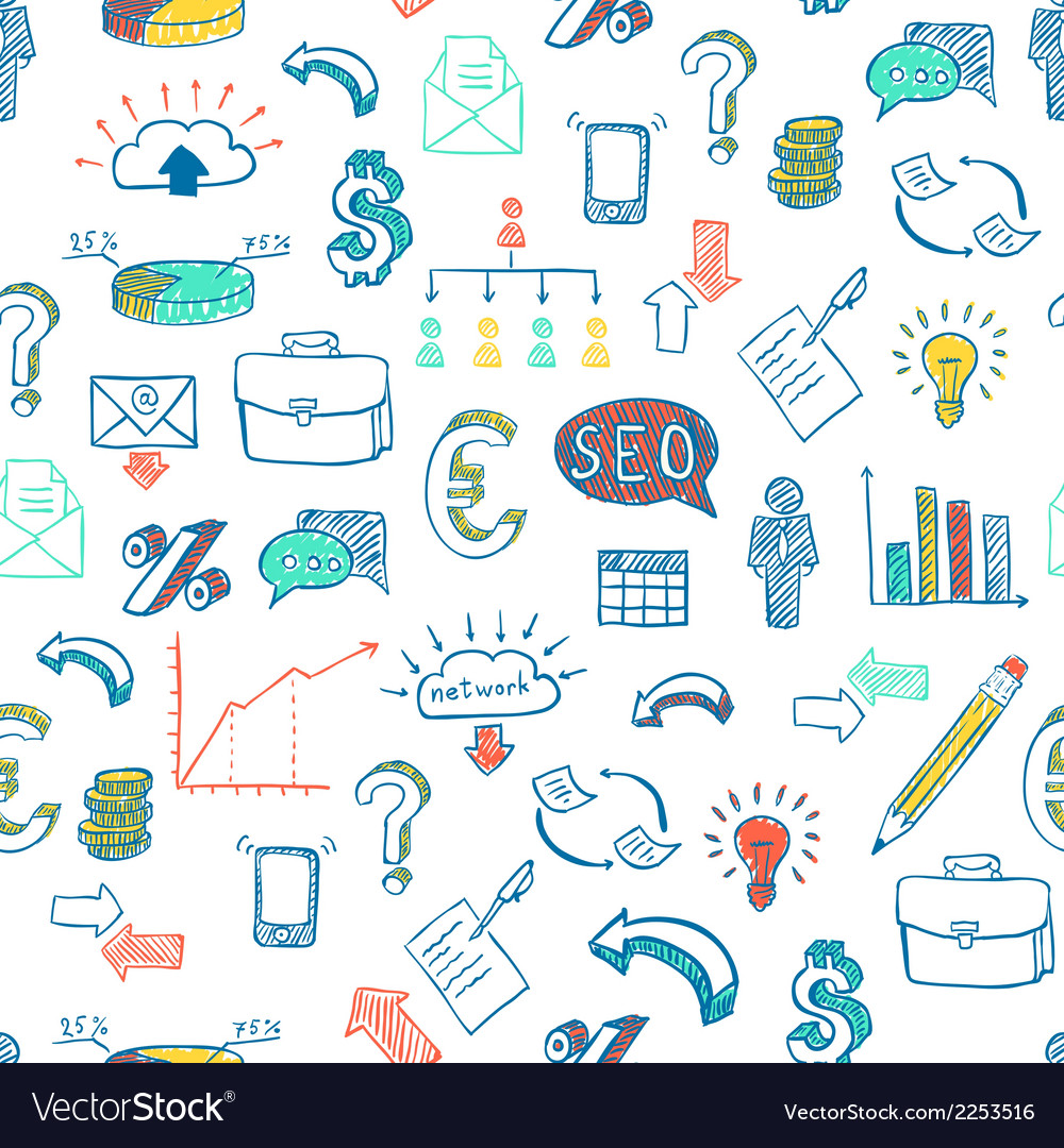 Business doodle pattern vector | Price: 1 Credit (USD $1)