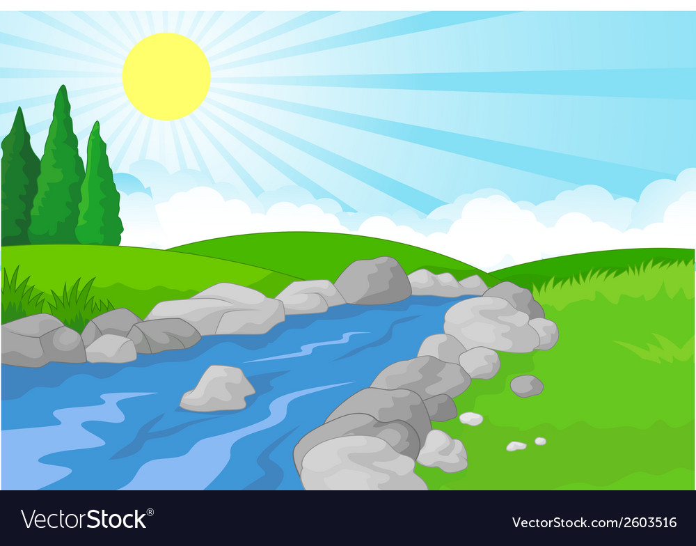 Cartoon nature landscape background with green mea vector | Price: 1 Credit (USD $1)