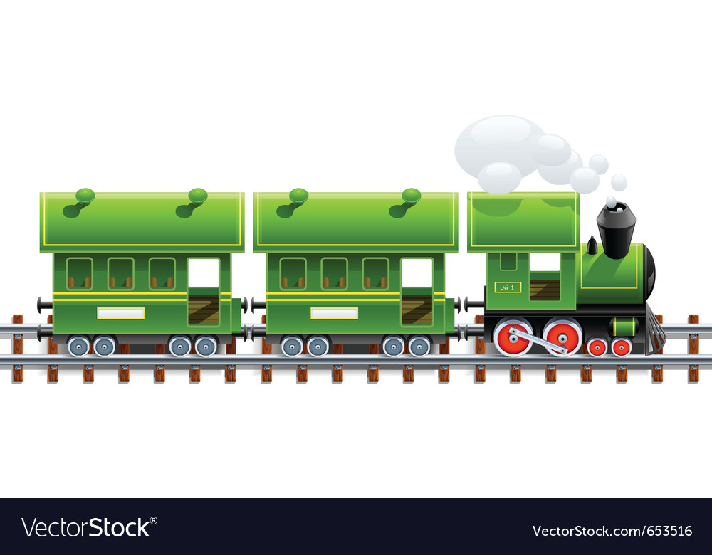 Green retro locomotive with vector | Price: 3 Credit (USD $3)