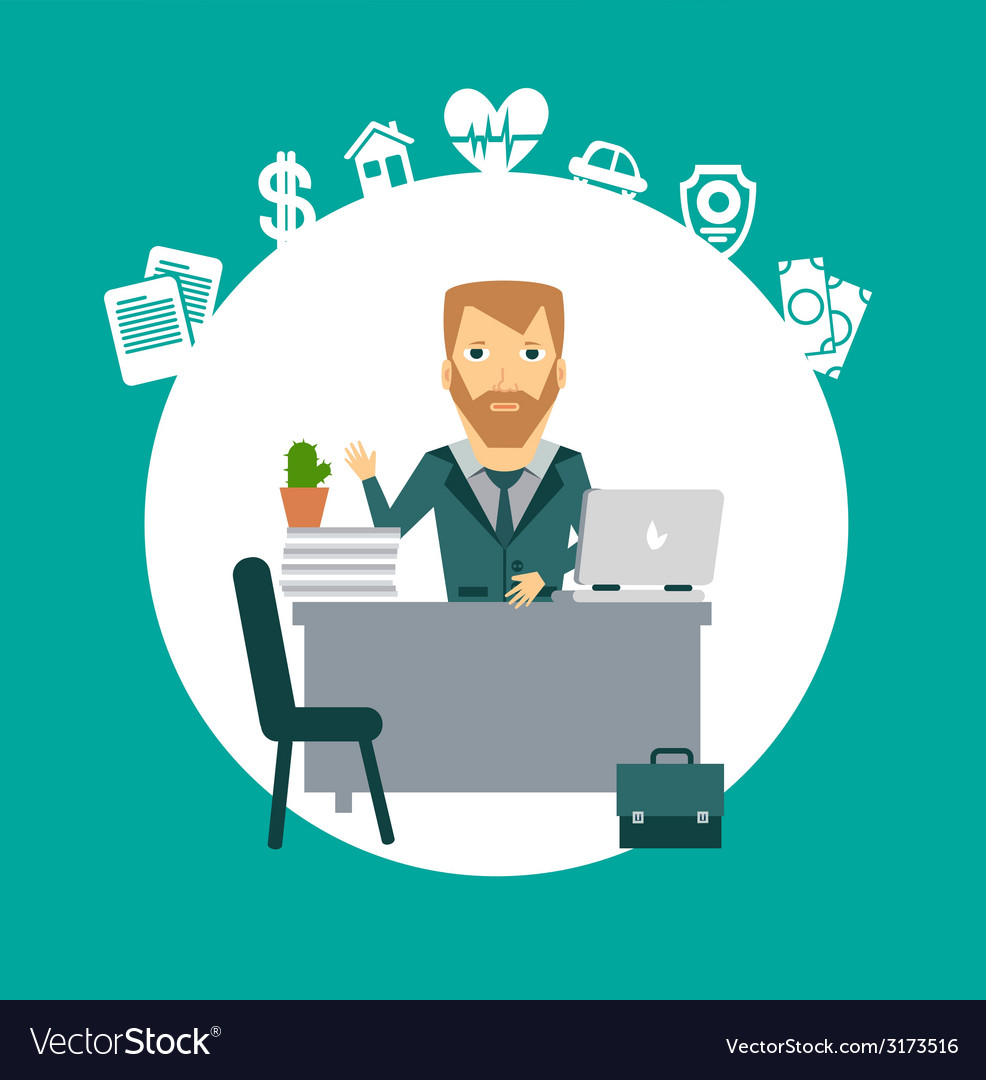 Insurance agent sitting at a desk vector | Price: 1 Credit (USD $1)