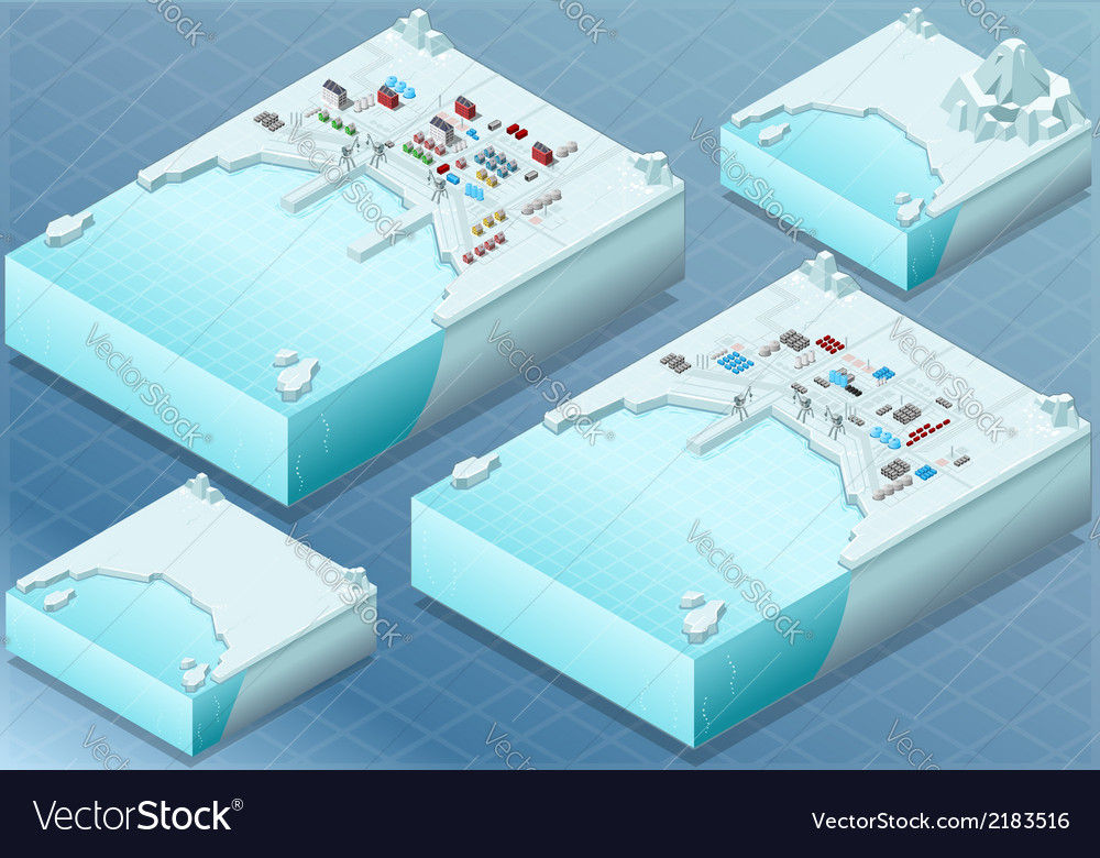 Isometric arctic bay with town and industrial vector | Price: 1 Credit (USD $1)