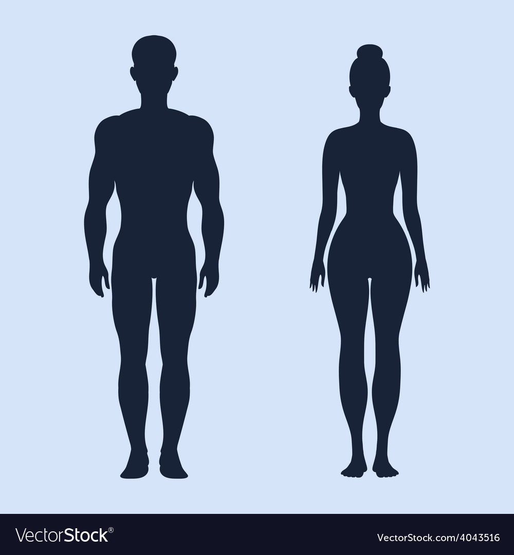 Man and woman standing silhouettes vector | Price: 1 Credit (USD $1)