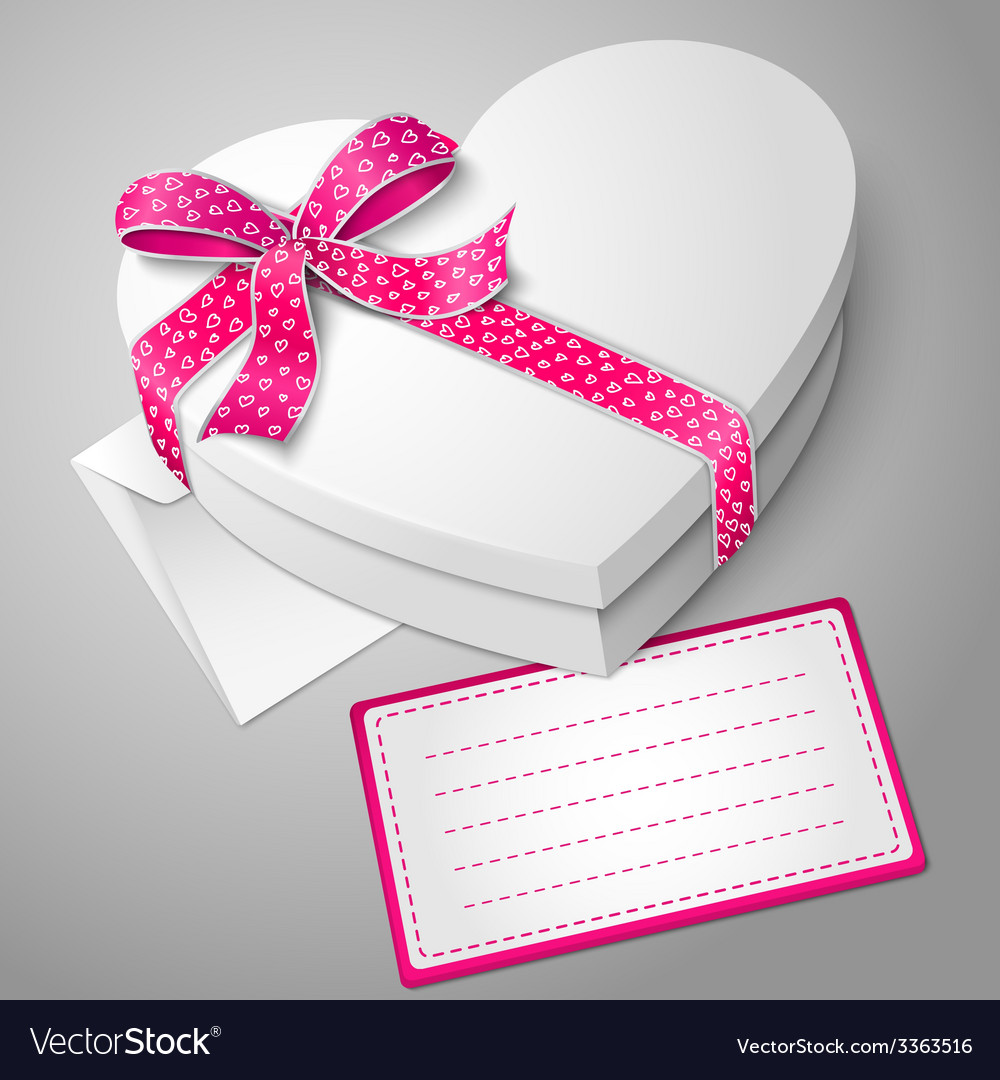 Realistic blank white heart shape box with ribbon vector | Price: 3 Credit (USD $3)