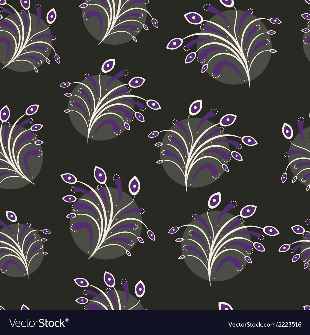 Seamless floral pattern on black vector | Price: 1 Credit (USD $1)