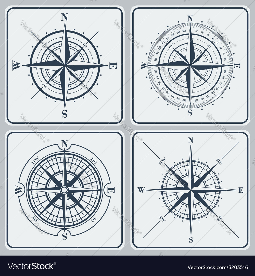 Set of compass roses windroses vector | Price: 1 Credit (USD $1)