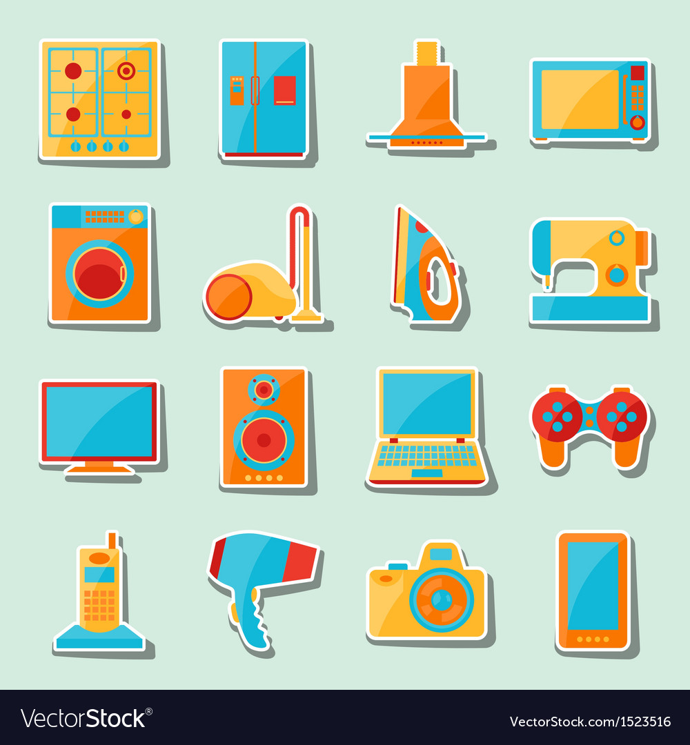 Set of home appliances and electronics icons vector | Price: 1 Credit (USD $1)