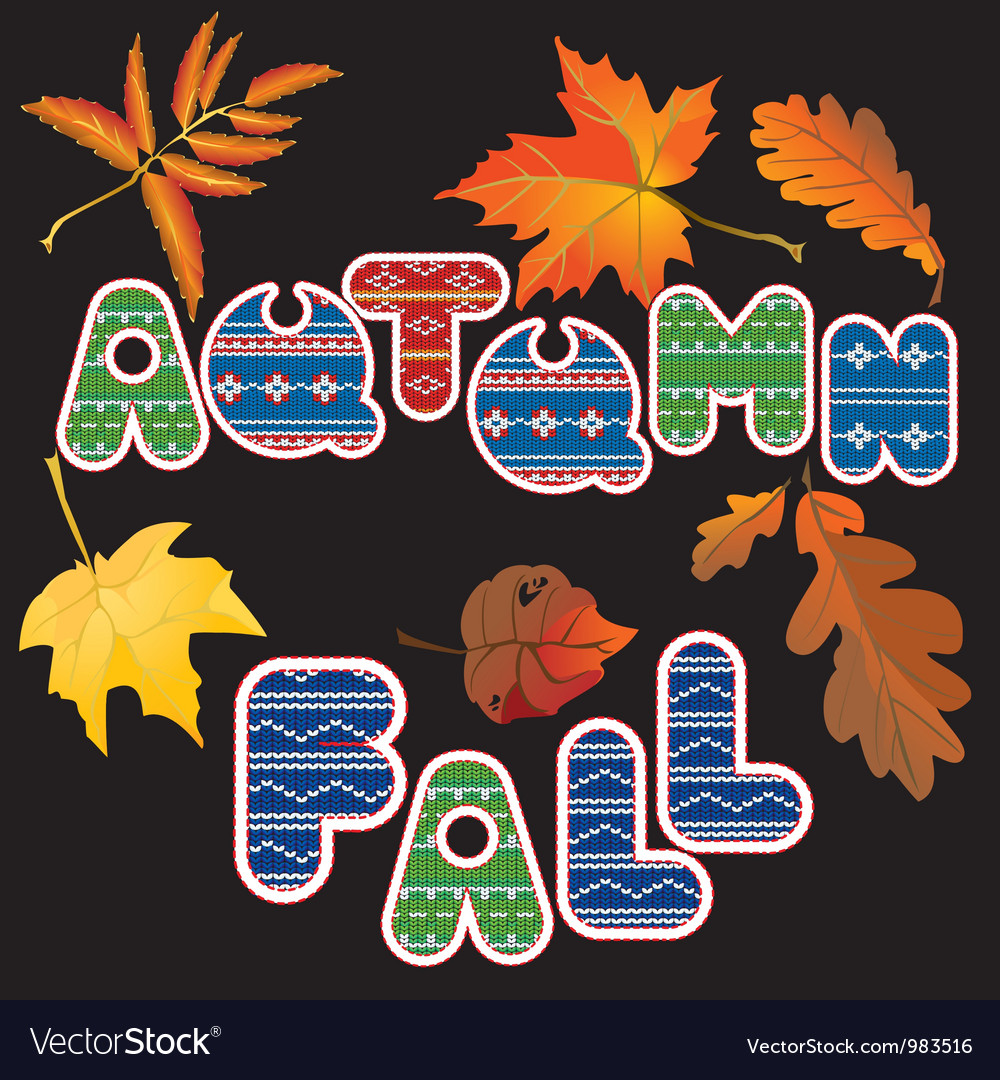 Set of isolated autumn forest leafs and words vector   Price: 1 Credit (USD $1)