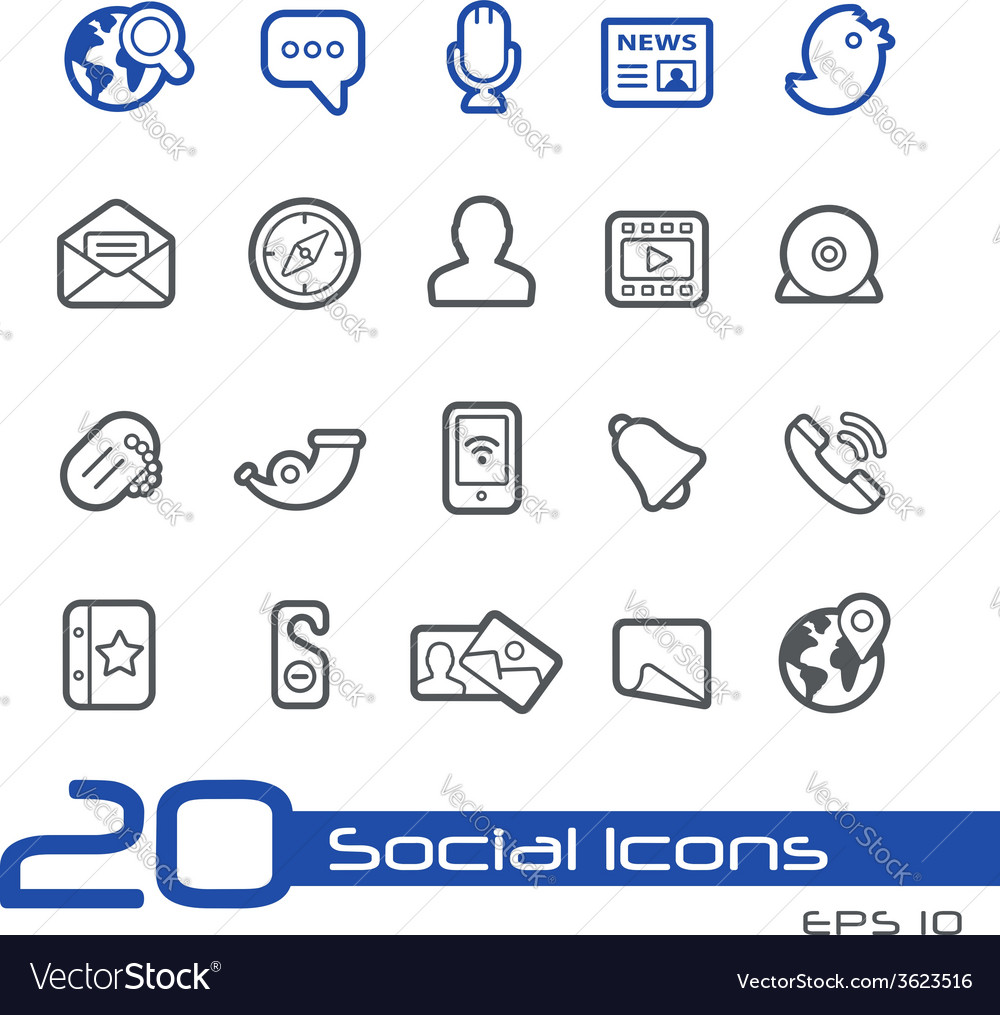 Social media outline series vector | Price: 1 Credit (USD $1)