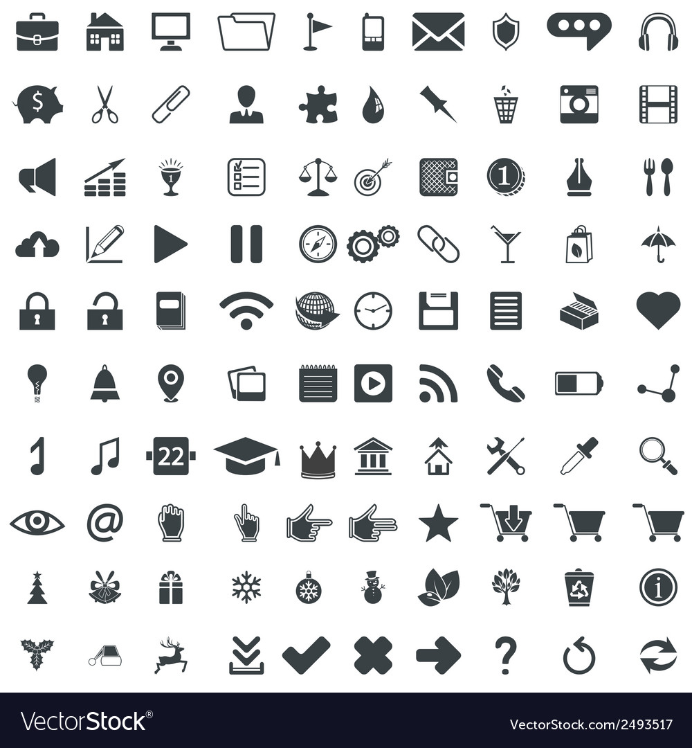 100 universal pictograms for web and mobile apps vector | Price: 1 Credit (USD $1)