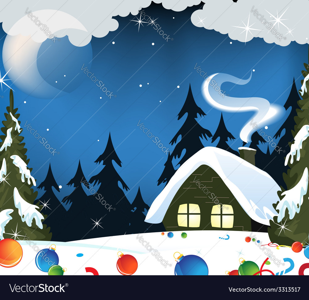 Forest hut and christmas decorations vector | Price: 3 Credit (USD $3)