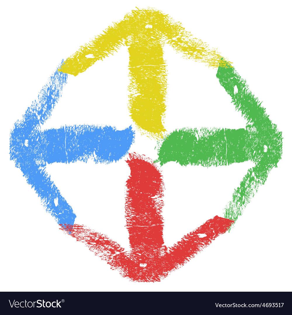 Grunge arrow four color vector | Price: 1 Credit (USD $1)