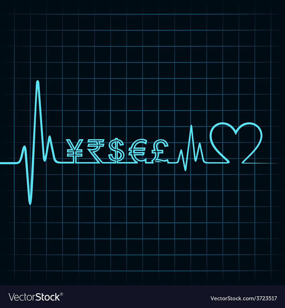 Heartbeat with a currency symbol in line vector | Price: 1 Credit (USD $1)
