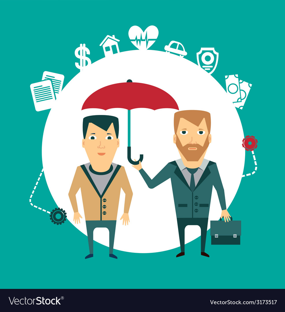 Insurance agent holding umbrella vector | Price: 1 Credit (USD $1)