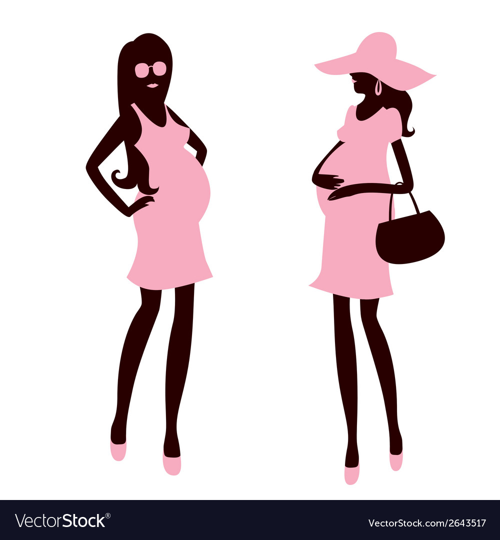 Two fashionable and pregnant woman vector | Price: 1 Credit (USD $1)