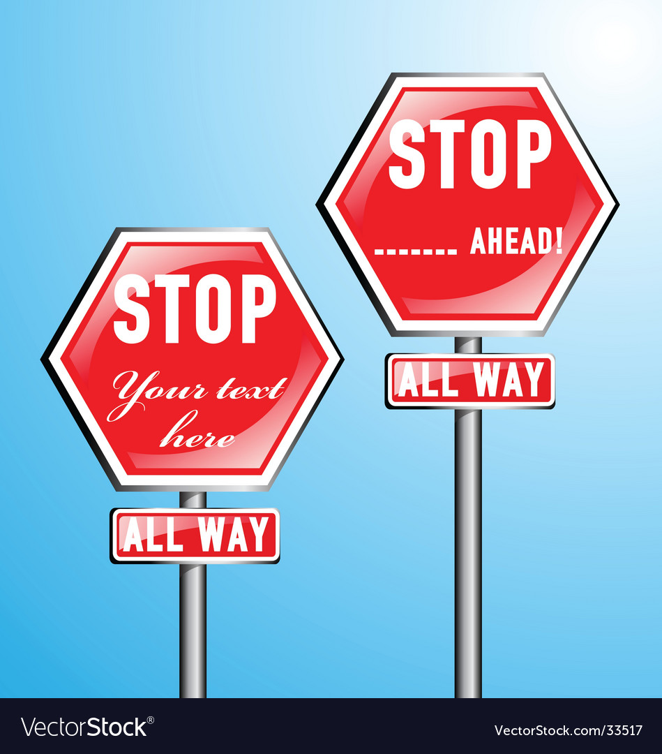 Two stop signs vector | Price: 1 Credit (USD $1)