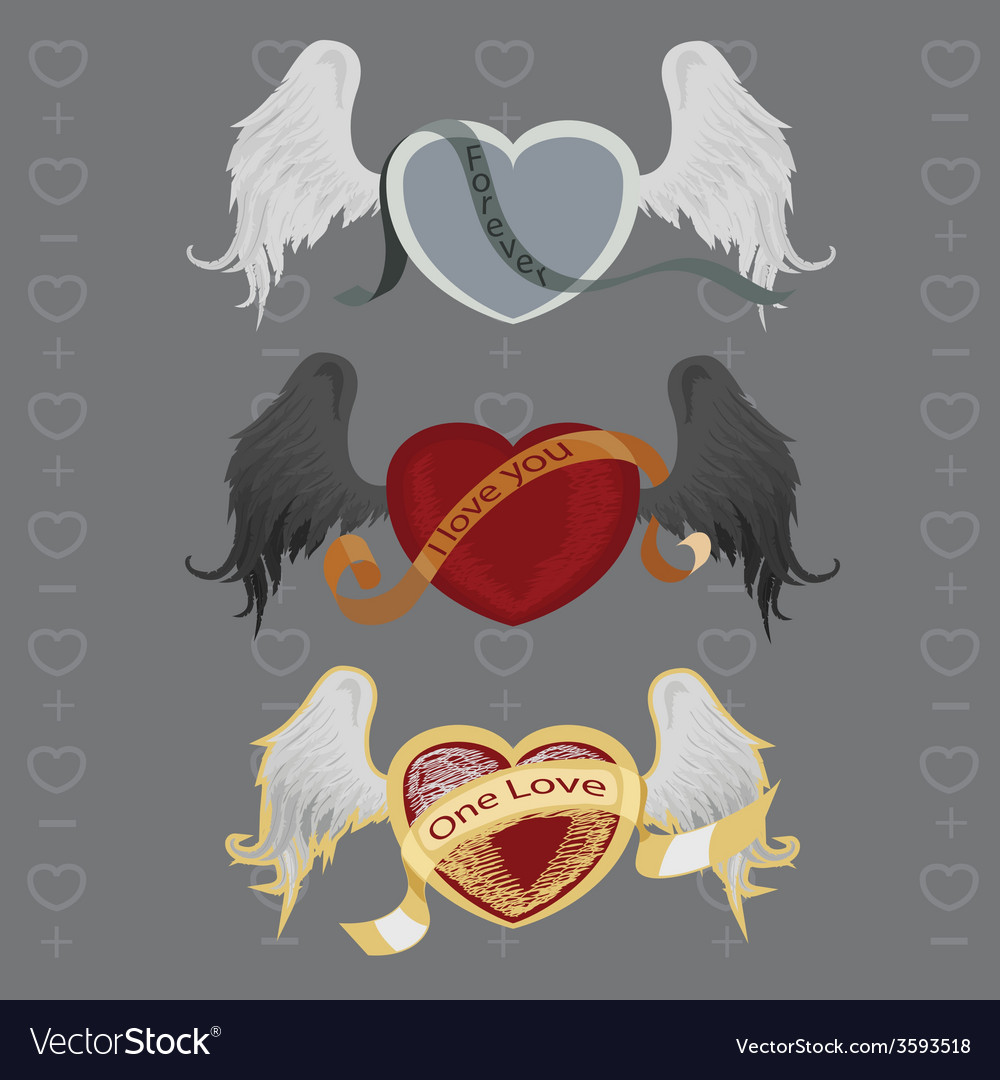 3 different hearts with wings vector | Price: 1 Credit (USD $1)
