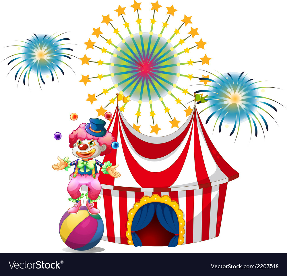 A carnival with a clown juggling vector | Price: 3 Credit (USD $3)