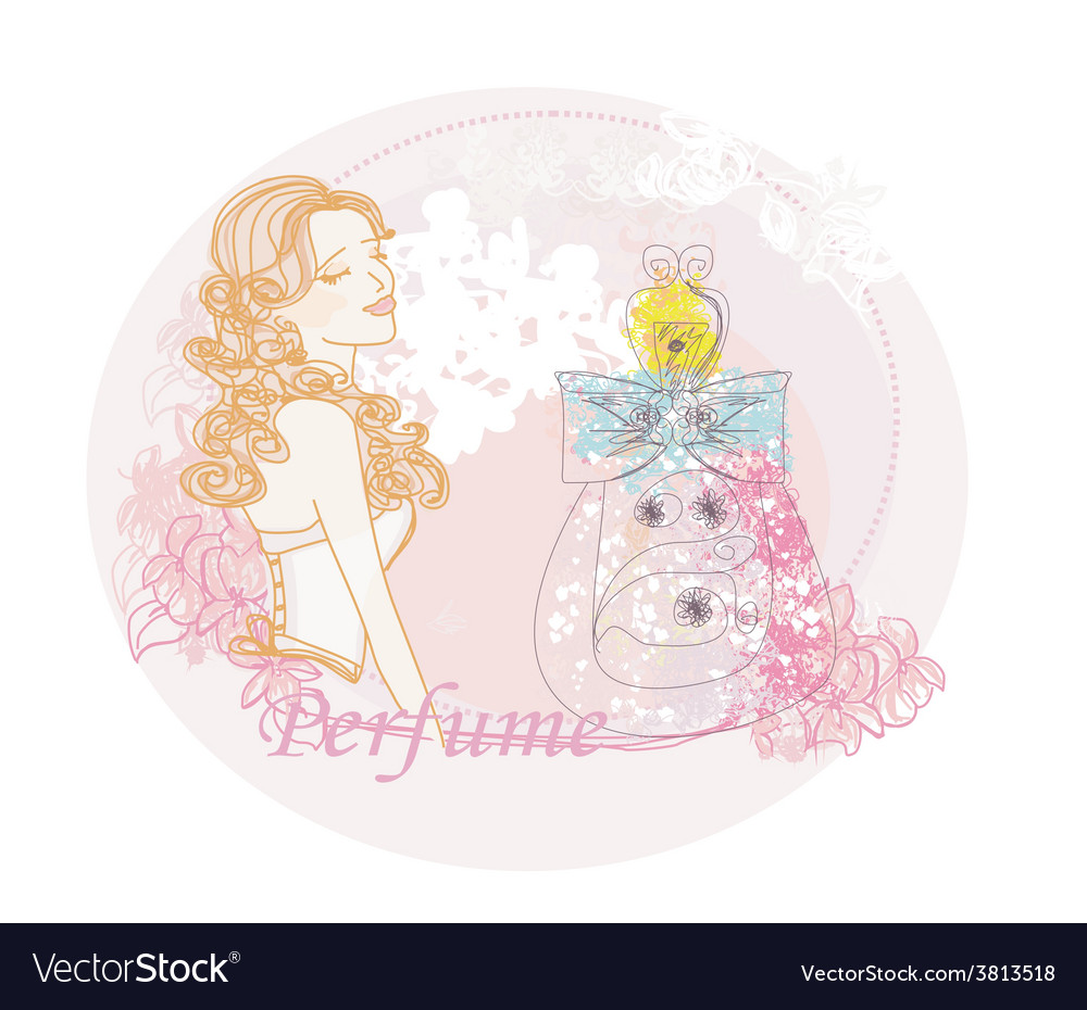 Abstract woman and bottle of perfume with a floral vector | Price: 1 Credit (USD $1)