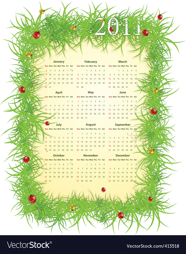 American spring 2011 calendar vector | Price: 1 Credit (USD $1)