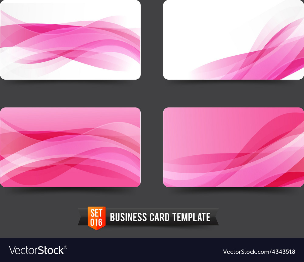 Business card template set 16 pink wave curve vector | Price: 1 Credit (USD $1)