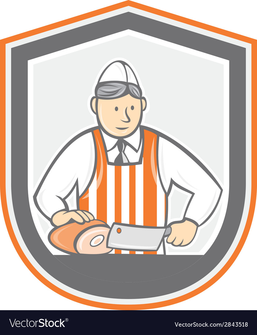 Butcher chopping ham shield cartoon vector | Price: 1 Credit (USD $1)