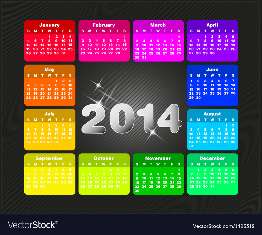 Colorful calendar for 2014 vector | Price: 1 Credit (USD $1)