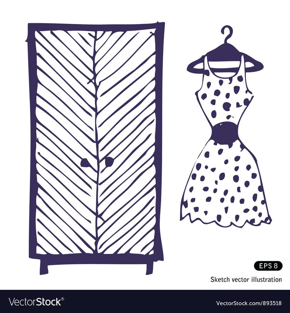 Dress and wardrobe vector | Price: 1 Credit (USD $1)