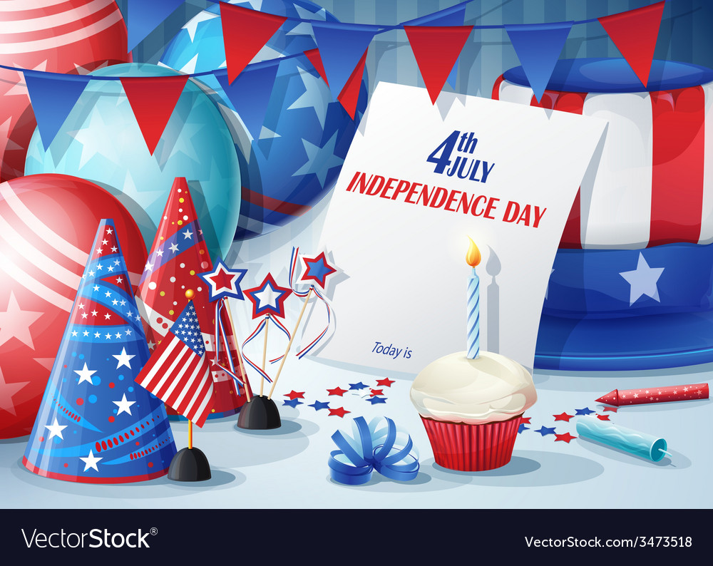 Greeting card independence day july 4 vector | Price: 3 Credit (USD $3)